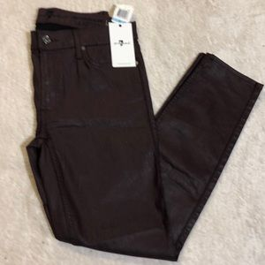 7 FOR ALL MANKIND Coated Mid Rise Ankle Skinny Leg